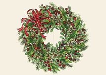 Red Ribbon Wreath Holiday Card
